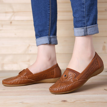 Leather Hollow Slip On Flats