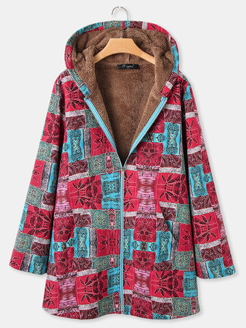 Floral Print Vintage Hooded Coats