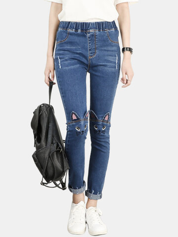 Embroidered Cat Ears Jeans