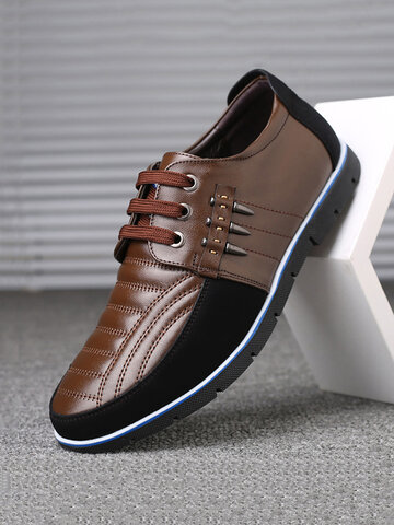 Men Genuine Leather Splicing Casual Driving Shoes