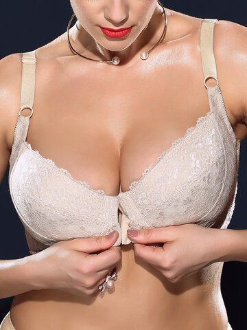 H Cup Front Closure Gather Plus Size Bra