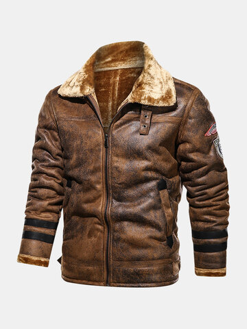 Faux Fur Badge Thicken Jackets