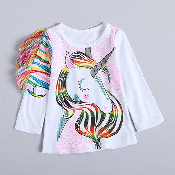 Pferd Mädchen Langarm T-Shirt 1-7 Y