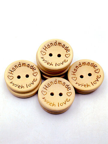 100 Pcs Natural Color Wooden Buttons Emoji Smile Face