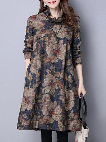 Frauen-Weinlese-Kleid, Blumendruck-Rollkragen-Weinlese-Kleid, Frauen-langes Hülsen-loses Kleid [{}} Paket eingeschlossen: