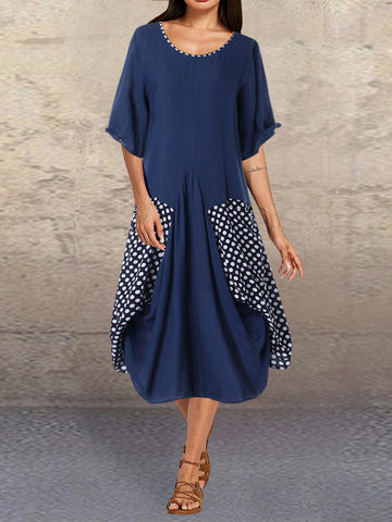 Polka Dot Solid Patchwork Dress
