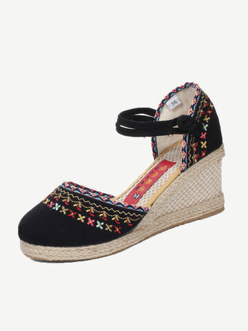 Floral Embroidery Straw Wedges Sandals