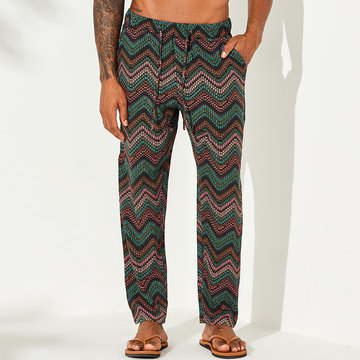 Mens Ethnic Green Wave Stripe Print Wide Leg Pants