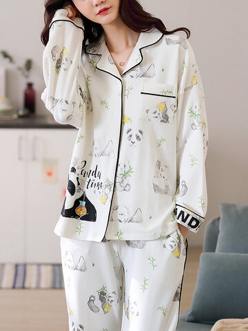 Cotton Panda Printed Lapel Long Pajamas