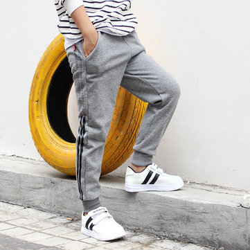 Side Striped Cotton Sports Trousers