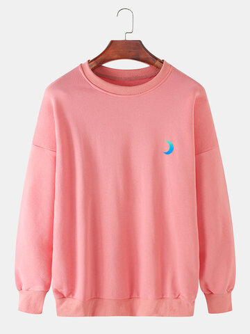 Cotton Reflective Moon Solid Sweatshirts