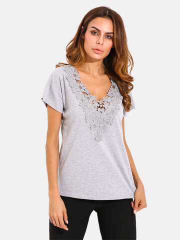 Sexy Women Solid Crochet Patchwork V-Neck T-Shirt