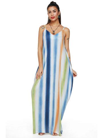Bohemian Printed V-neck Maxi Dresses, Purple green blue