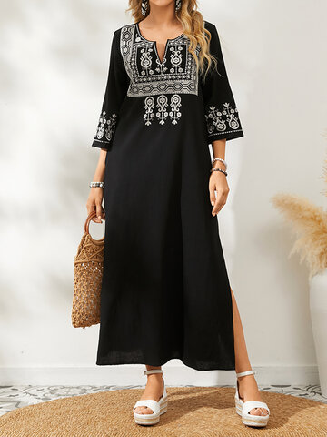 Embroidery Patchwork Vintage Dress