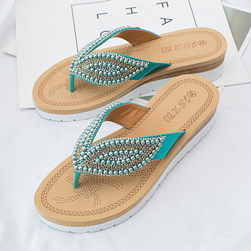 Beaded Candy Color Flip Flops