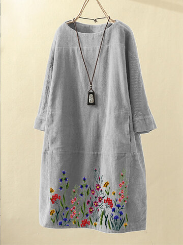 Embroidered Vintage Pockets Corduroy Solid Color Loose Casual Dress