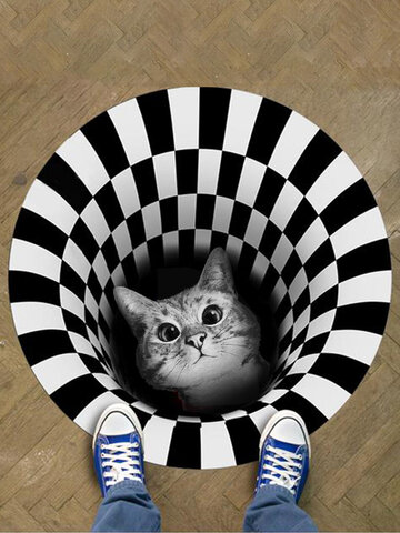 3D Illusion Doormat Cat Pattern Door Floor Mat Non-slip Black White Doormat Decor Carpet