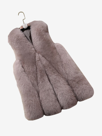 Elegant Faux Fur Women Vest Coat