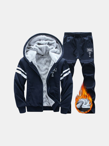Mens Thicken Hooded Sport Suit