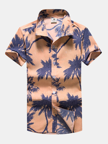 Casual Summer Hawaiian Style Printing Breathable Dress Shirts for Men