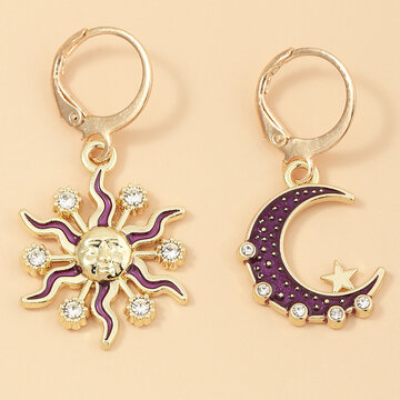 Sun Moon Pendant Earrings