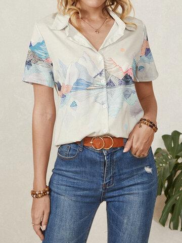 Блузка с короткими рукавами с пейзажным принтом