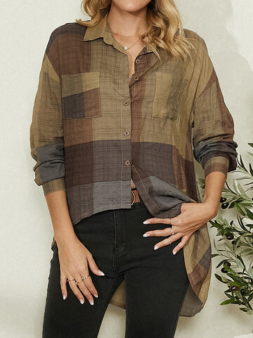 Vintage Plaid Asymmetrical Blouse