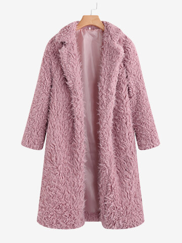 Faux Fur Turn Down Collar Coat