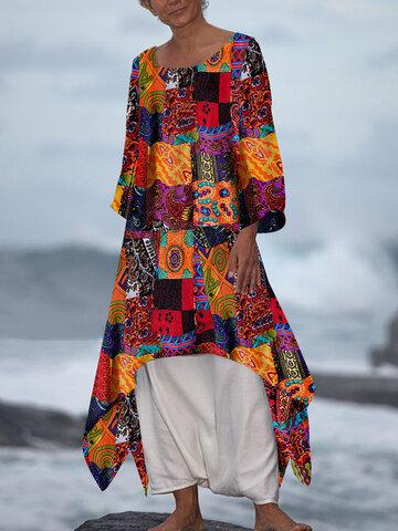 Drucken Sie unregelmäßige Casual Maxi Kleid