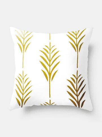 Ins Nordic Style Pillowcase Custom Gold Leaf Sofa Pillow Waist Cushion Cover Hot Style Fashion Decor