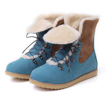 Big Size Multi-Way Lace Up Warm Flat Fur Lining Ankle Boots