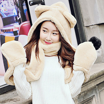 Women Convertible Pocket Scarf Wrap Hat Gloves Set One Piece