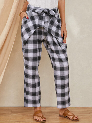 Plaid Print Knotted Casual Pants
