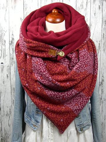 Women Versatile Thick Warmth Shawl Printing Scarf