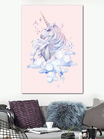 Watercolor Flamingo Unicorn Canvas Wall Art