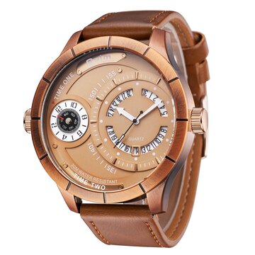 Luxury Two Time Zone Mens Watches Unique Retro Calendar Big Dial Leather Strap Quartz Watches Gift