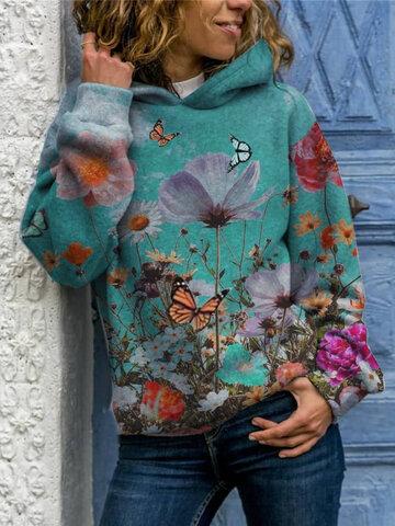 Felpa con cappuccio con stampa di fiori di farfalle