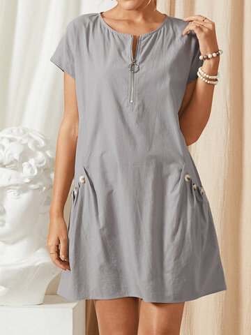 Solid Color Zip Front Dress