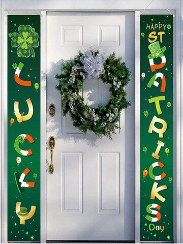 Bonne fête de la Saint-Patrick bannière maison cour intérieure extérieure irlandaise fête décor porte rideau Festival atmosphère Couplet bannière