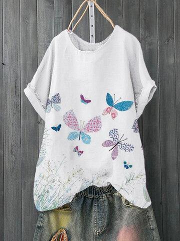 Butterflies Print O-neck T-Shirt