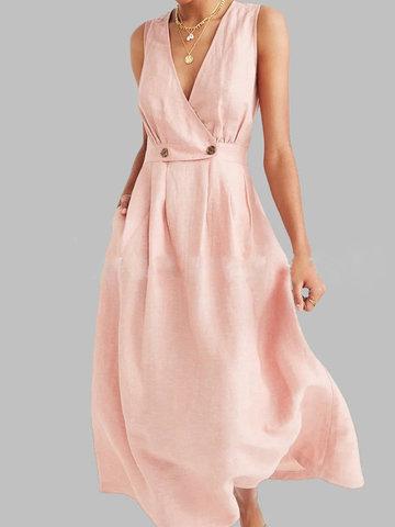 Vestido de verão vintage cor sólida