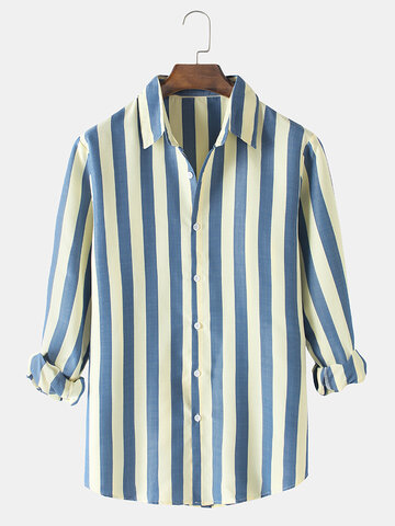 Simple Vertical Stripes Print Shirts