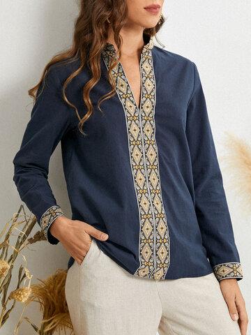 Tribal Pattern Long Sleeve Blouse