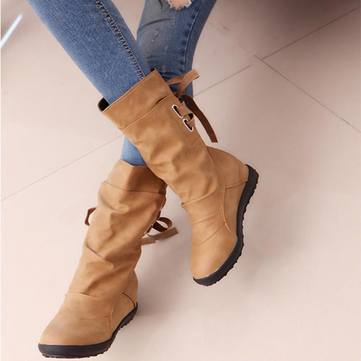 Large Size Stitching Mid Calf Boots