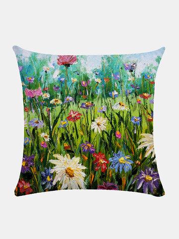Floral Overlay Print Pattern Linen Cushion Cover Home Sofa Art Decor Throw Pillowcase