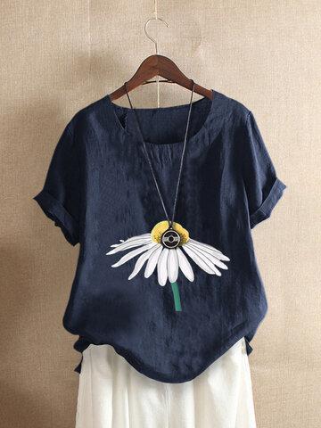 Baumwoll-T-Shirt mit Blumendruck