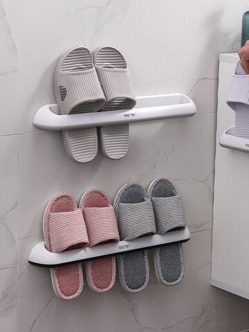 رف شبشب للحمام مثبت على الحائط من البلاستيك لتخزين الأحذية ، رف بسيط ، صف مزدوج ، رف شباشب