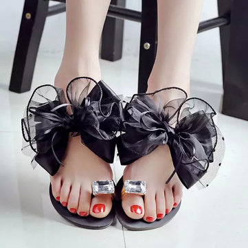 Bead Crystal Clip Toe Sandals