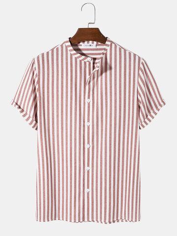 Pinstripe Stand Collar Shirts