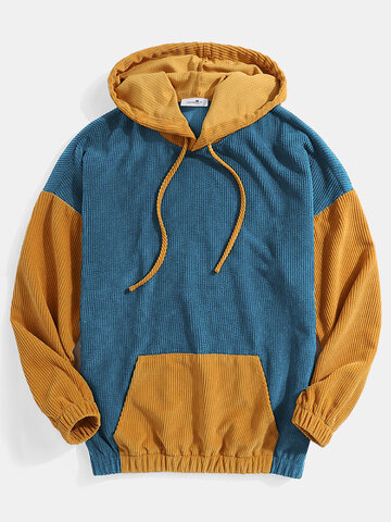 Mens Corduroy Contrast Patchwork Casual Drawstring Elastic Hem Hoodies With Kangaroo Pocket